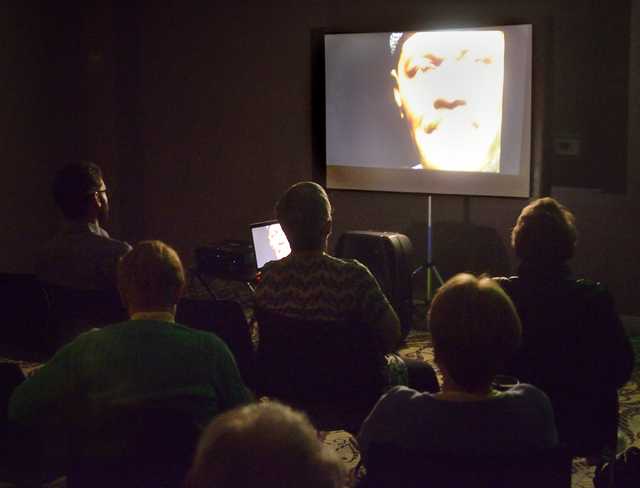 """An audience watches a screening of """"The Exonerated,"""" sponsored by the Nevada Coalition Against the Death Penalty, at the Gay and Lesbian Community Center, 401 S. Maryland Parkway, in Las Vegas on  ..."""