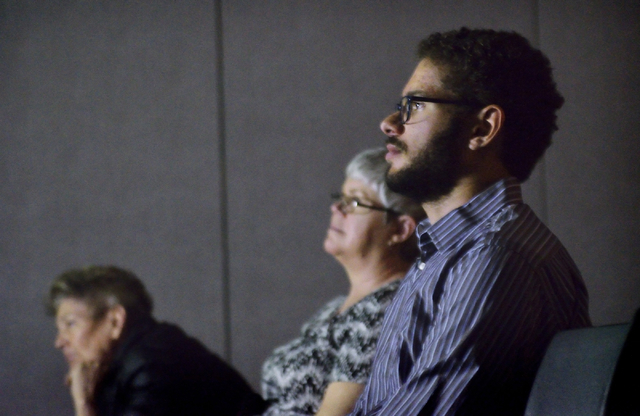 """Howard Watts, a volunteer for the Nevada Coalition Against the Death Penalty, right, is shown during a screening of """"The Exonerated"""" at the Gay and Lesbian Community Center, 401 S. Maryland Parkwa ..."""