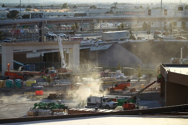 Construction is shown at the T-Mobile Arena on the Strip Feb. 11. Chase Stevens/Las Vegas Review-Journal
