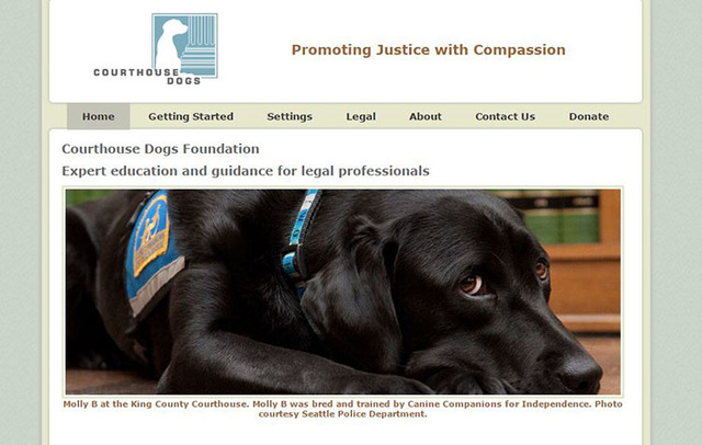 The website shows Molly B at the King County Courthouse in Seattle. (Screengrab/courthousedogs.com)