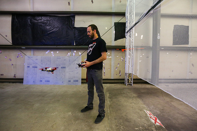 Harrison Gale prepares to run a racing drone through a course at a practice location near Sahara and Eastern avenues in Las Vegas on Thursday, March 3, 2016. Gale is training for an upcoming race  ...