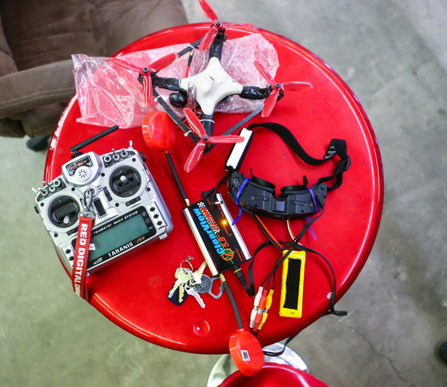 Harrison Gale's drone and controller are shown between course runs at a practice location near Sahara and Eastern avenues in Las Vegas on Thursday, March 3, 2016. Gale is training for an upcoming  ...