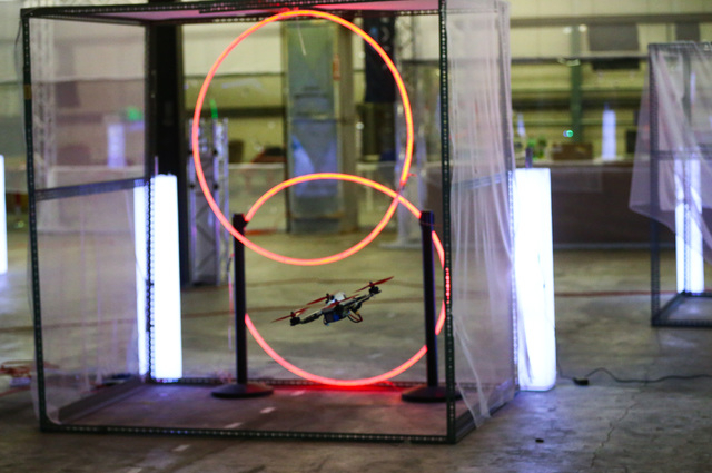 Harrison Gale, not pictured, controls a racing drone through a course at a practice location near Sahara and Eastern avenues in Las Vegas on Thursday, March 3, 2016. Gale is training for an upcomi ...