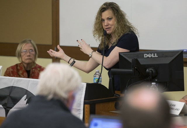 """Jessalyn Radack, director of Whistleblower & Resource Protection Program, addresses the crowd at a symposium titled """"Inside Drone Warfare: Perspectives of Whistleblowers, Families of Drone Vic ..."""