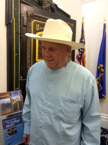 Brothel owner Dennis Hof files as a Libertarian candidate in Assembly District 36 at the Nevada Secretary of State's office in Carson City on Friday, March 18, 2016. Sandra Cherub/Las Vegas Review ...