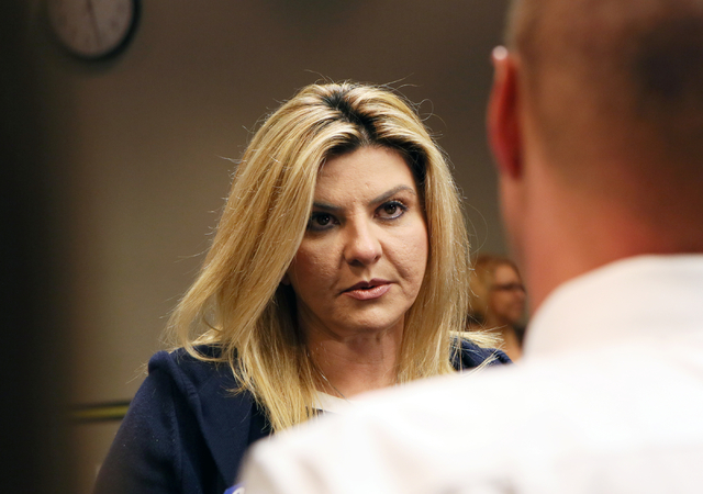 Assemblywoman Michele Fiore, R-Nev., speaks to the news media after filing paperwork at the Clark County Government Center to run for the 3rd Congressional District Wednesday, March 9, 2016, in La ...
