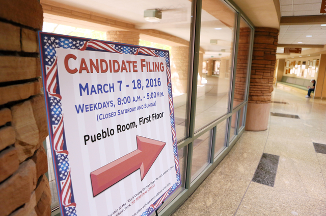 A sign is shown for candidate filing at the Clark County Government Center Wednesday, March 9, 2016, in Las Vegas. (Ronda Churchill/Las Vegas Review-Journal)