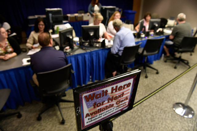 Candidates file for their respective offices at the Clark County Government Center Friday, March 18, 2016, in Las Vegas. Friday was the deadline for filing to become a candidate for office. David  ...