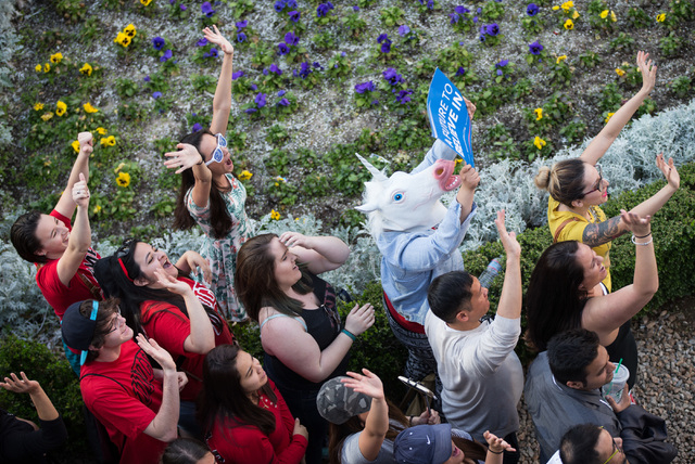"People react during the taping of a segment of ""The Ellen DeGeneres Show"" outside of Caesars Palace in Las Vegas on Tuesday, March 1, 2016. Chase Stevens/Las Vegas Review-Journal ..."