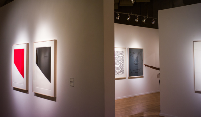 """At left, """"Red Curve"""" and """"Black Curve,"""" both from 1999, show artist Ellsworth Kelly's mastery of color and shape; an exhibit of the late artist's lithographs continues through May 14 at UNLV's Bar ..."""