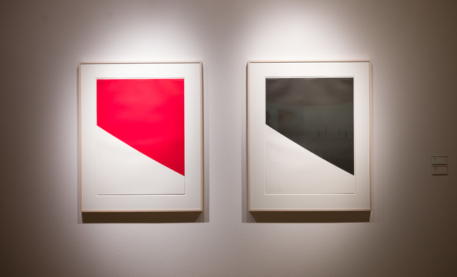 """The 1999 lithographs """"Red Curve"""" and """"Black Curve"""" are featured in the Ellsworth Kelly exhibition currently at UNLV's Barrick Museum. Chase Stevens/Las Vegas Review-Journal Follow @csstevensphoto"""