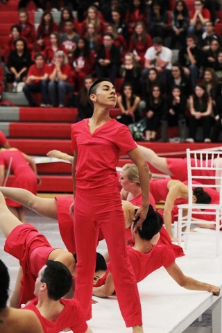 Gustavo Morales of the Santa Clara Vanguard performs at the regional WGI championship at the Thomas & Mack Center Feb. 28, 2015. Special to View