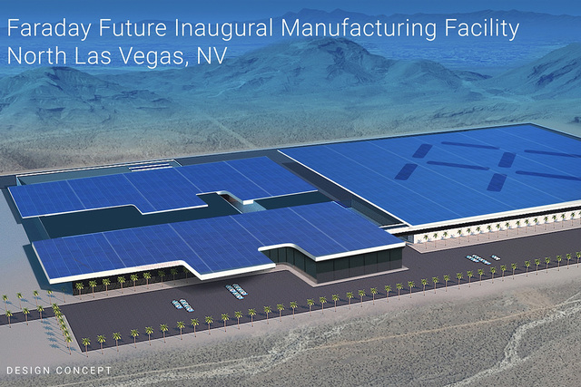 This architectural rendering of Faraday Future factory that will be built in North Las Vegas at the Apex Industrial Park. The company assured state officials Thursday that it would be able to secu ...