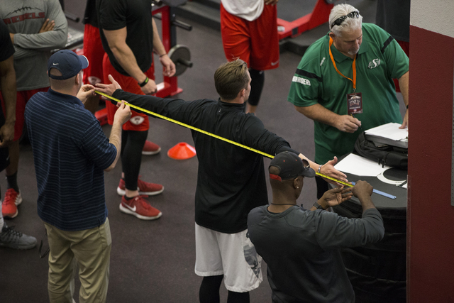 UNLV's Blake Decker is measured during Pro Day at UNLV's Lied Athletic Complex on Thursday, March 17, 2016, in Las Vegas. Erik Verduzco/Las Vegas Review-Journal Follow @Erik_Verduzco