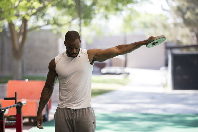 Souther Utah University's Anthony Norris warms up for the bench challenge during Pro Day at UNLV's Lied Athletic Complex on Thursday, March 17, 2016, in Las Vegas. Erik Verduzco/Las Vegas Review-J ...