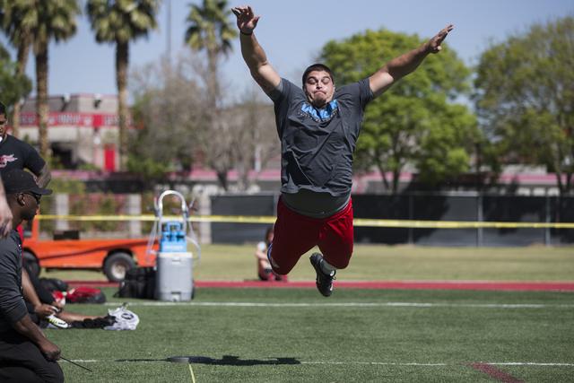 UNLV's Nick Gstrein leaps for the broad jump challenge during Pro Day at UNLV's Rebel Park on Thursday, March 17, 2016, in Las Vegas. Erik Verduzco/Las Vegas Review-Journal Follow @Erik_Verduzco