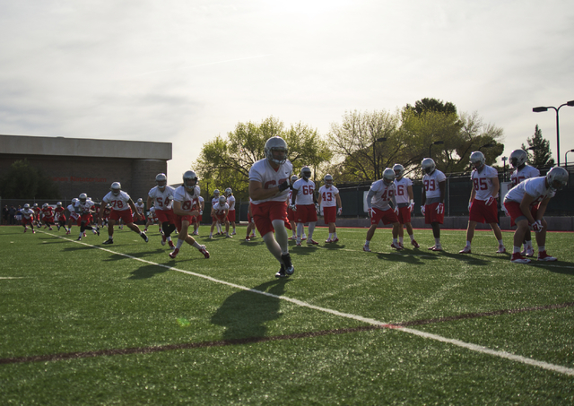 Players on the UNLV football team run drills during the first day of spring practice at the Rebel Park practice fields on the UNLV campus in Las Vegas on Monday, March 7, 2016. Daniel Clark/Las Ve ...