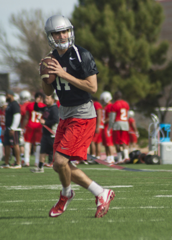 UNLV quarterback Kurt Palandech (14) prepares to throw the ball during the first day of spring practice at the Rebel Park practice fields on the UNLV campus in Las Vegas on Monday, March 7, 2016.  ...