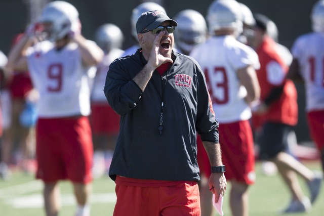 UNLV's football head coach Tony Sanchez calls on his players during a team practice at Rebel Park on Wednesday, March 9, 2016, in Las Vegas. (Erik Verduzco/Las Vegas Review-Journal Follow @Erik_Ve ...