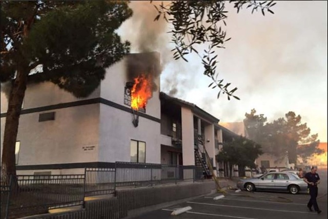 One person was displaced in a fire at the Hidden Village Apartments, 1825 Lewis Ave., in downtown Las Vegas, Thursday morning, March 17, 2016. (Twitter/Las Vegas Fire Department)