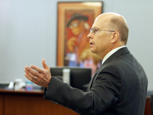 Attorney Frank Flaherty speaks during a court hearing at the Regional Justice Center Thursday, March 10, 2016, in Las Vegas. The hearing addressed legislation passed in 2011 that intended to make  ...