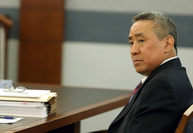 Jon Okazaki, counsel for Clark County School District, looks on during a court hearing at the Regional Justice Center Thursday, March 10, 2016, in Las Vegas. The hearing addressed legislation pass ...