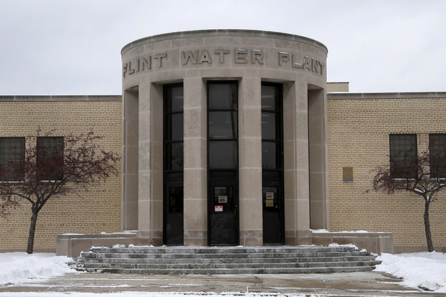 The front of the Flint (Michigan) Water Plant is seen Jan. 13, 2016. The FBI has joined a criminal investigation of lead-contaminated drinking water in Flint. (Rebecca Cook/Reuters)