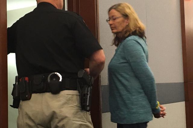 Former Boulder City Animal Control Shelter supervisor Mary Jo Frazier in court on March 8, 2016 in Las Vegas. (David Ferrara/Las Vegas Review-Journal)
