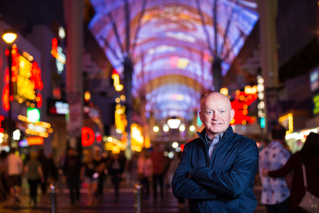 Fremont Street Experience President & CEO Patrick Hughes poses for a portrait along Fremont Street in downtown Las Vegas on Wednesday, March 2, 2016. Chase Stevens/Las Vegas Review-Journal Fol ...