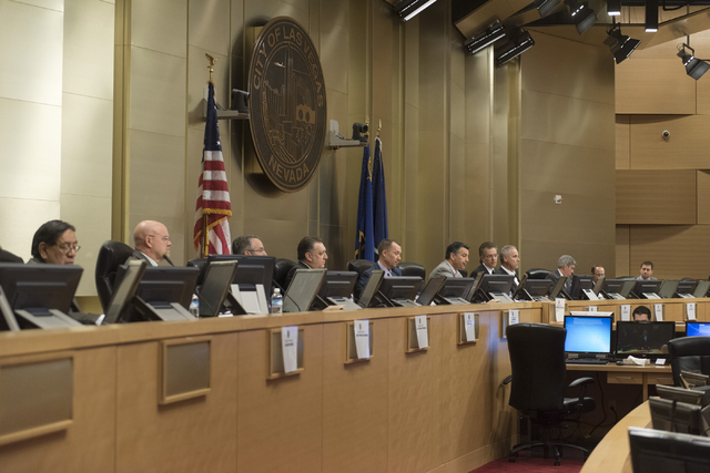 Members of the Nevada Gaming Policy Committee listen as Jim Sullivan speaks during public comment at the Nevada Gaming Policy Committee meeting at Las Vegas City Hall Council Chambers Monday, Marc ...