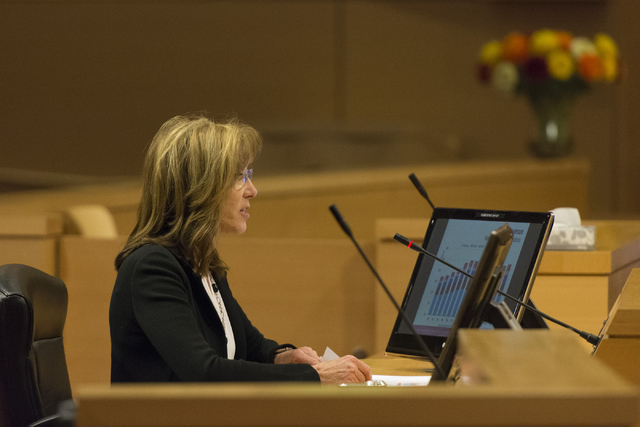 Virginia Valentine, executive director of the Nevada Resort Association, speaks, at the Nevada Gaming Policy Committee meeting at Las Vegas City Hall Council Chambers Monday, March 7, 2016. Jason  ...