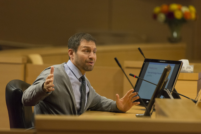 David Schwartz, director of  Center for Gaming Research, speaks, at the Nevada Gaming Policy Committee meeting at Las Vegas City Hall Council Chambers Monday, March 7, 2016. Jason Ogulnik/Las Vega ...