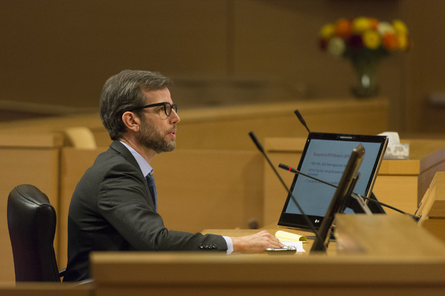 Chris Grove, senior partner at Narus Advisors and consultant at Eilers and Krejcik Gaming, speaks at the Nevada Gaming Policy Committee meeting at Las Vegas City Hall Council Chambers Monday, Marc ...