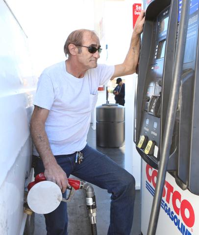 Sal Trimboli of Las Vegas pumps gas at a Costco gas station on 222 S. MLK Blvd., Wednesday, March 9, 2016, in Las Vegas. Bizuayehu Tesfaye/Las Vegas Review-Journal Follow @bizutesfaye