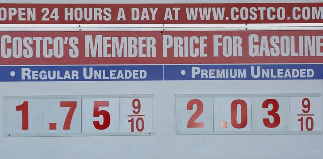 Self-serve regular gas price of $1.75 is displayed at a Costco gas station on 6555 N. Decatur Blvd., Wednesday, March 9, 2016, in Las Vegas. Bizuayehu Tesfaye/Las Vegas Review-Journal Follow @bizu ...