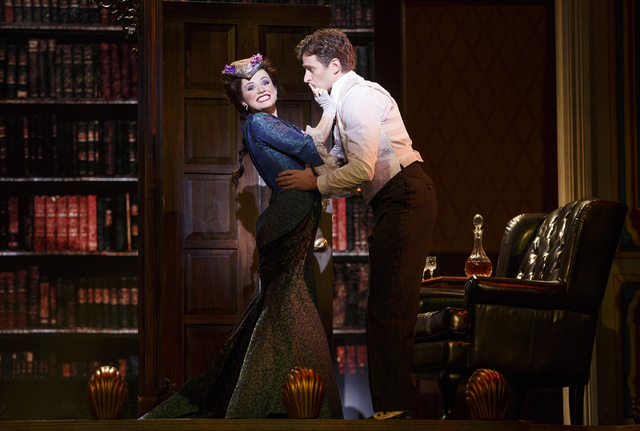 """Phoebe D'Ysquith (Adrienne Eller) and Monty Navarro (Kevin Massey) form two sides of the resident romantic triangle in the Tony-winning """"A Gentleman's Guide to Love & Murder."""" JOAN MARCUS/COUR ..."""