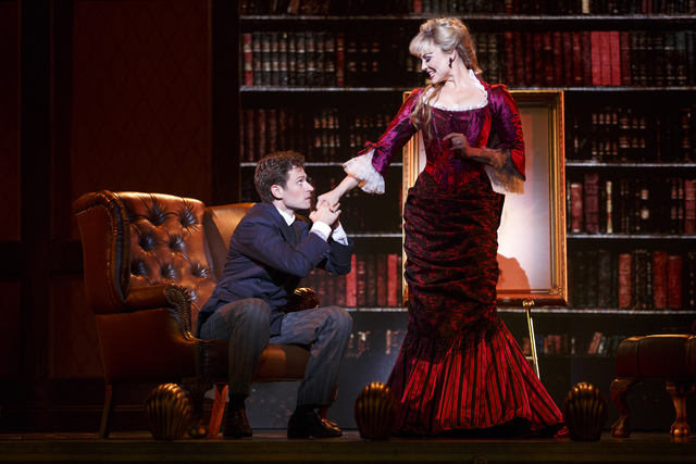 """The socially ambitious Sibella Hallward (Kristen Beth Williams) tempts Monty Navarro (Kevin Massey) in the Tony-winning """"A Gentleman's Guide to Love & Murder,"""" at The Smith Center through Sund ..."""