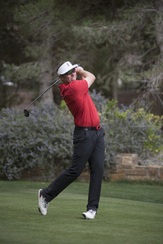 A.J. McInerney of UNLV tees off during the Southern Highlands Collegiate Masters Golf Tournament held at the Southern Highlands Golf Club in Las Vegas on Wednesday, March 11, 2015. (Martin S. Fuen ...