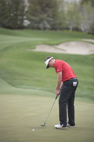A.J. McInerney of UNLV sinks a putt during the Southern Highlands Collegiate Masters Golf Tournament held at the Southern Highlands Golf Club in Las Vegas on Wednesday, March 11, 2015. (Martin S.  ...