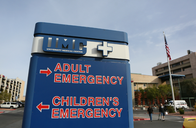 A sign is shown near University Medical Center's emergency department entrance at UMC Wednesday, Jan. 28, 2015, in Las Vegas. Gov. Sandoval has budged $10 million for graduate medical education fo ...