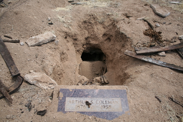 One of two graves at the old Gold Butte town site is seen on Saturday, April 19, 2014. The grave of Arthur Coleman was dug up in recent days or weeks in what history buffs are calling a disgusting ...