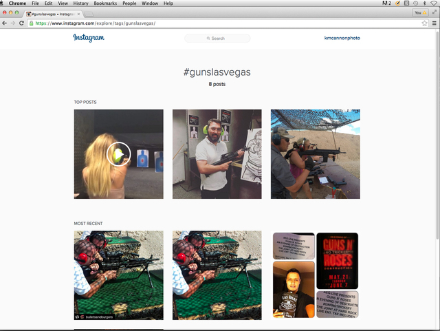 An Instagram pages shows a search for the hashtag #gunslasvegas on Monday, March 21, 2016. Nevada uses gun hashtags the most in the U.S., according to a study by the insurance company NetQuote.