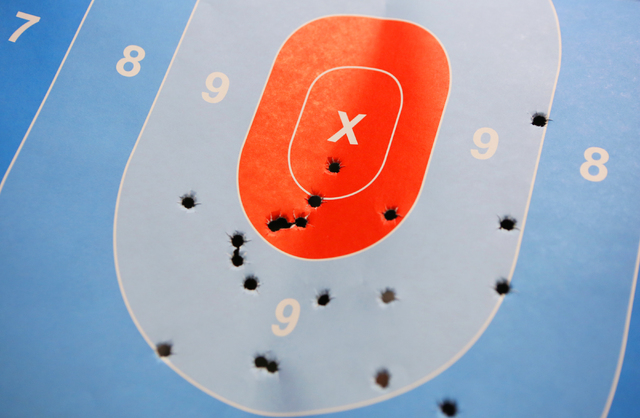 A target is shown at The Gun Storeճ indoor range Monday, March 21, 2016, in Las Vegas. Nevada was ranked number one for the most gun-related hashtags on Instagram. Ronda Churchill/Las Vegas  ...