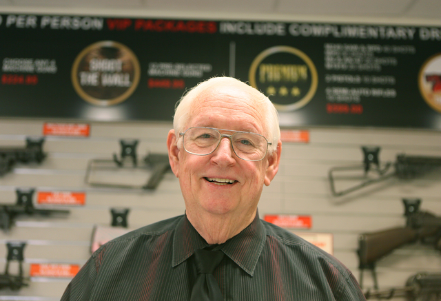 The Gun Store owner Bob Irwin stands for a photo at the indoor range check-in counter Monday, March 21, 2016, in Las Vegas. Nevada was ranked number one for the most gun-related hashtags on Instag ...