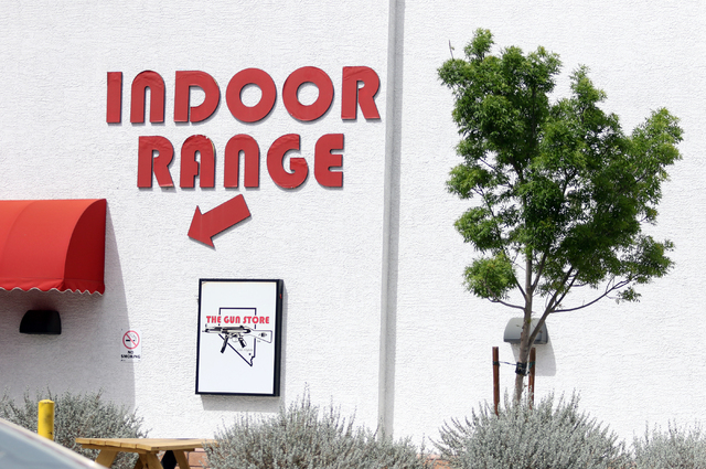 A sign for The Gun Storeճ indoor range is shown Monday, March 21, 2016, in Las Vegas. Nevada was ranked number one for the most gun-related hashtags on Instagram. Ronda Churchill/Las Vegas R ...