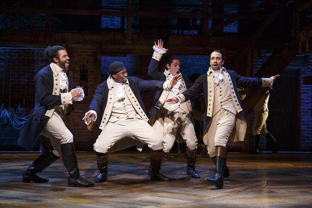 """Hamilton"" writer, composer and star Lin-Manuel Miranda, right, joins fellow cast members Daveed Diggs, Okieriete Onaodown and Anthony Ramos in the cast of the Broadway musical. The national tour  ..."