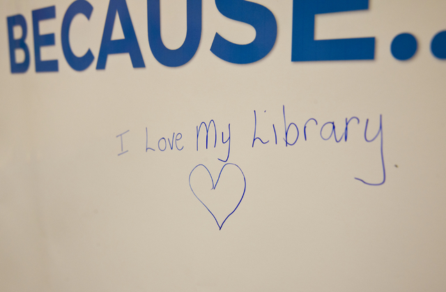 A message left by a visitor on a poster is seen during an event featuring the new Henderson Libraries' website and logo at the Green Valley Library March 1. Daniel Clark/View