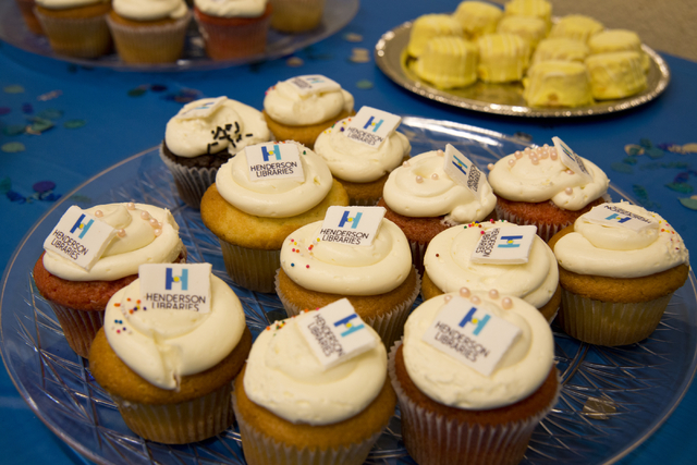 Cupcakes branded with the new Henderson Libraries logo sit on a table at the Green Valley Library March 1. Daniel Clark/View
