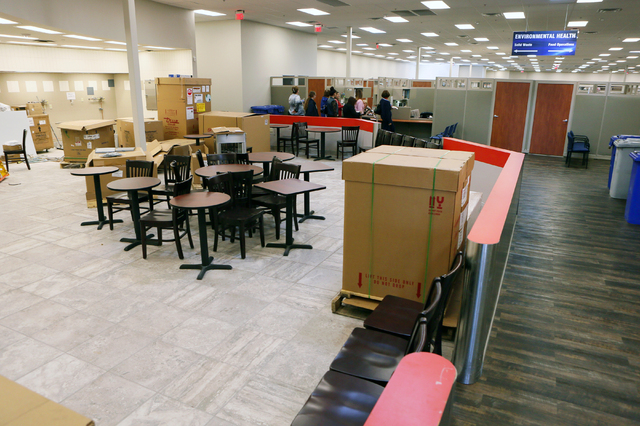 A cafe is under construction at Southern Nevada Health District's newest office located at 280 S. Decatur Blvd. Tuesday, March 8, 2016, in Las Vegas. SNHD repurposed the building, which was previo ...
