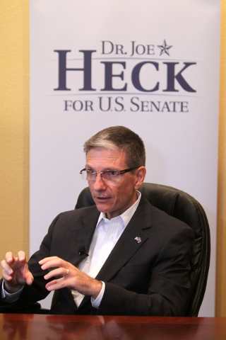 U.S. Representative Joe Heck meets with the press at Red Rock Strategies on Monday, July 6, 2015. Heck is running for a seat in the U.S. Senate. (James Tensuan/Las Vegas Review-Journal) Follow Jam ...